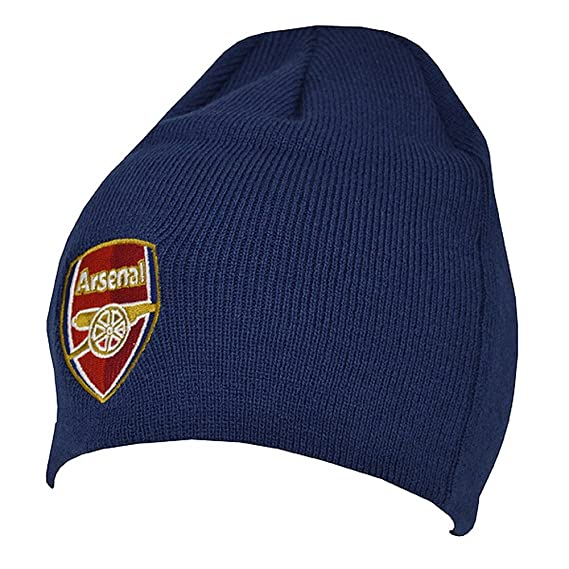 fb7aadcd0aa3b Arsenal FC Official Adults Knitted Football Crest Winter Beanie Hat (One  Size) (Navy