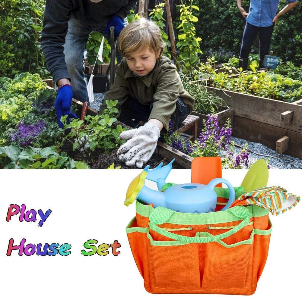 500g Outdoor Set with Shovel Harrow Watering Can 8PCS Children Gardening Tools Orange Play Tools
