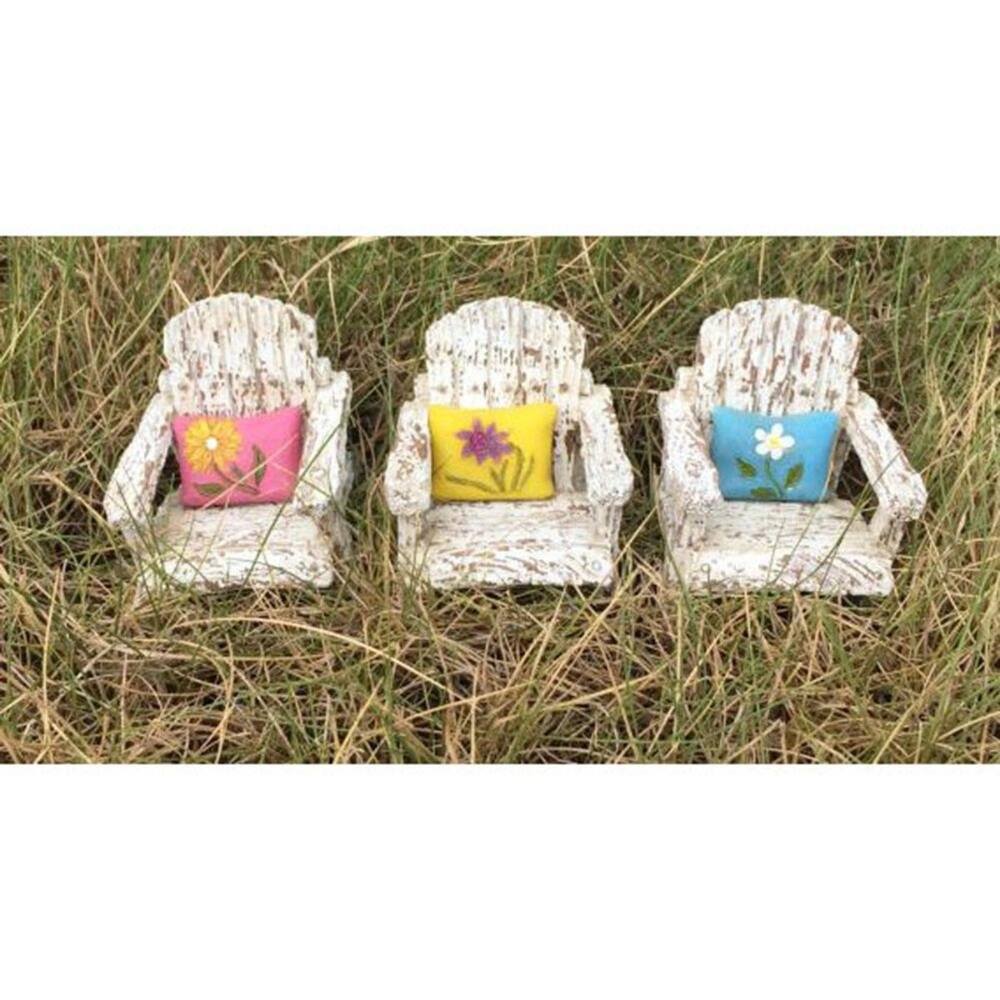 Miniature Fairy Garden Front Porch Chair W/Attached Pillow 3 Assorted