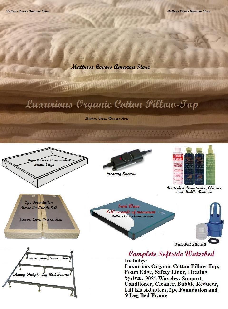 Queen Softside Waterbed With Organic Pillowtop & semi Wave mattress by U.S. Water, Glideaway, Aqua Fusion, Calesco