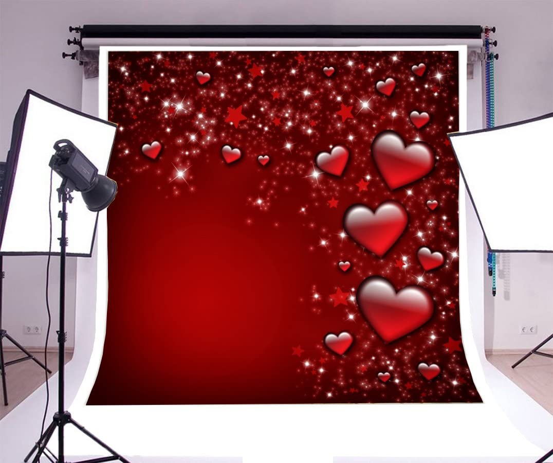 8x12 FT Love Vinyl Photography Backdrop,Abstract Artwork with Hearts Silhouette Sunshines Marriage Passion Valentines Print Background for Photo Backdrop Baby Newborn Photo Studio Props