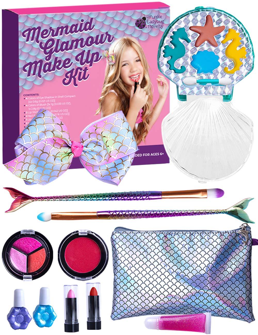 Purple Ladybug Mermaid Makeup Kit for Little Girls - Safe & Washable Makeup for Kids & Tweens - Fun Mermaid Themed Girl Gift Idea - Includes a Handy Wristlet, Lipstick, Blush, Eye Shadow, & More