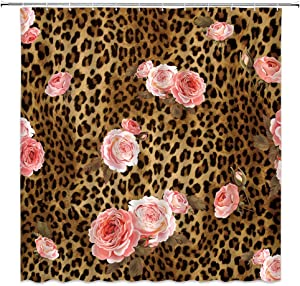 Leopard Flower Shower Curtain Cute Pink Rose Mix Wild Animal Leopard Pattern Background Creative Modern Art Home Bathroom Decor Quick Dry Fabric Curtain with 12 Hooks,70x70 Inch,Pink Brown