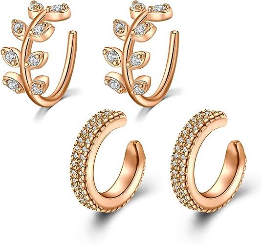 Dainty Fringe Glistening Crystals Earrings Jackets Hypoallergenic Stud Earrings for Women 14K Gold Plated Ear Cuff Huggies Hoop Earrings