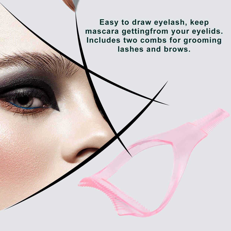 Qewmsg 3 en 1 Mascara Guard Pincel para pestañ as Rizador Lash Peine Cosmé tico Maquillaje Cosmé tico