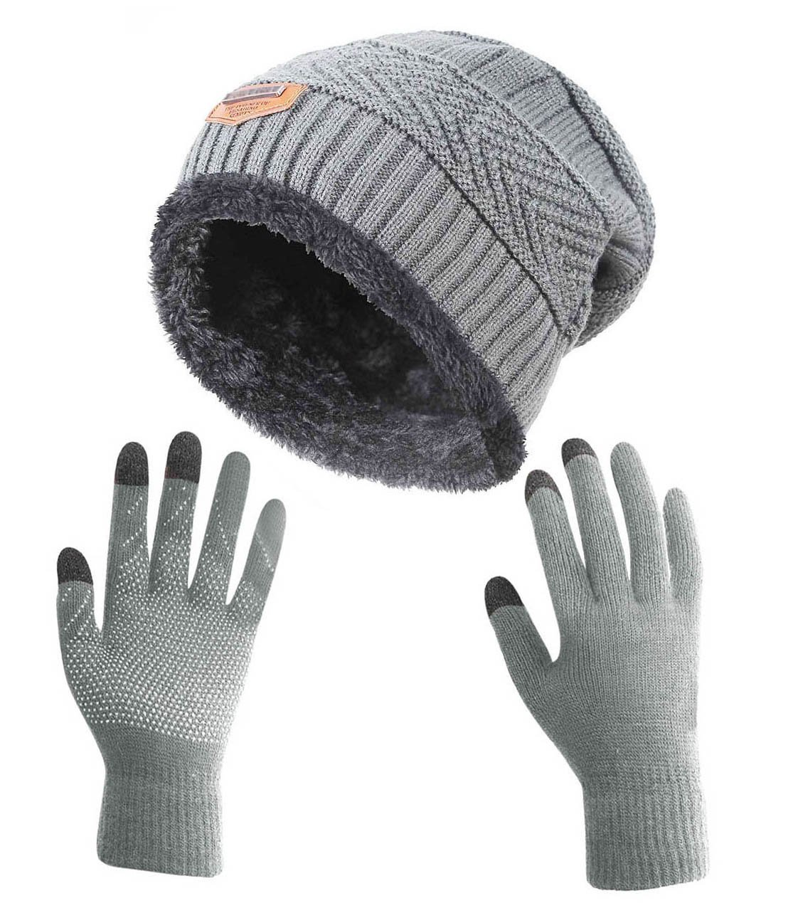 Winter Gloves Slouchy Beanie for Women HINDAWI Knit Warm Hat Skull Cap Touch Screen Mittens Grey