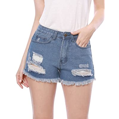 Allegra K Shorts Jeans Troué Femme Taille Haute Pantalons Denim Ete de Plage