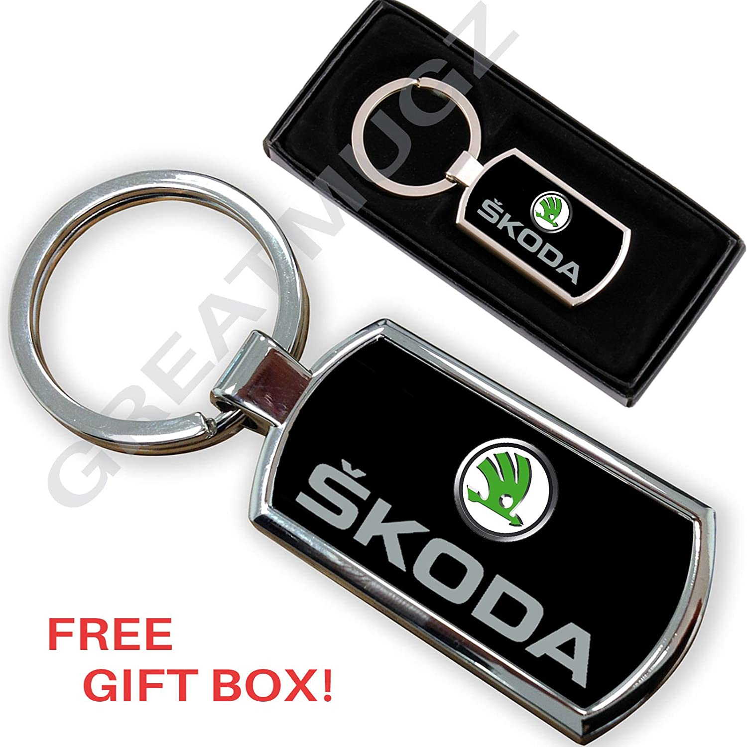 Cargifts SKODA KEYRING KEY RING CHROME METAL FOB