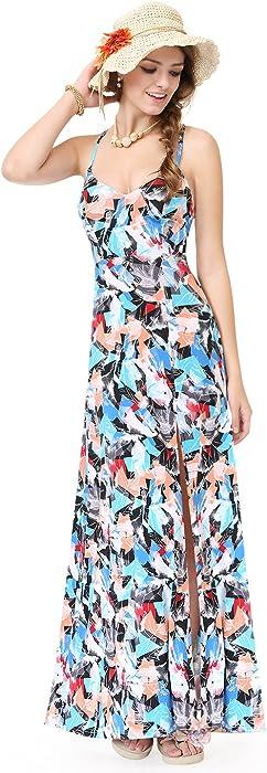 939572cdf9b Alisa Pan Womens Adjustable Cross Back Long Summer Dress 4 US Multi Color