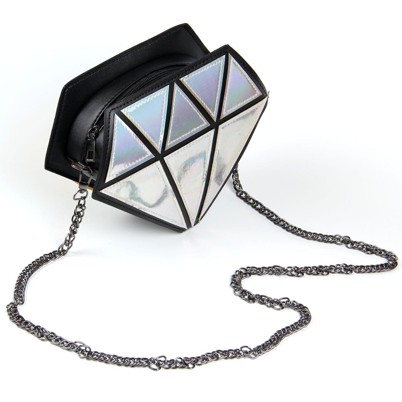 Kuang Laser Diamond Shape Evening Shoulder Bag PU Leather Chain Purse for Women Girls