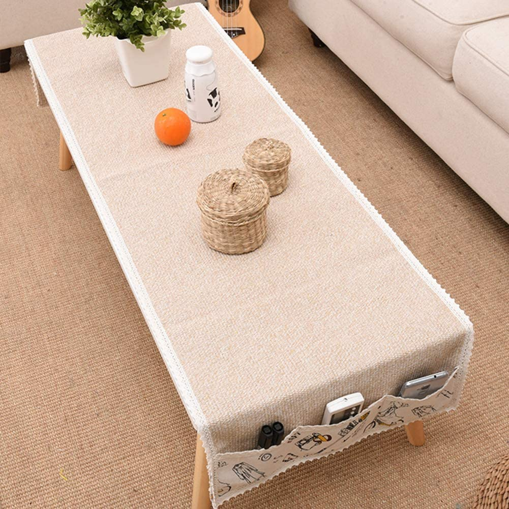 Amazon Com Wingoffly Cotton Coffee Tablecloth With 6 Side Pockets Rectangular Tea Table Cloth Cover For Kitchen Dinner Decoration Beige 19 7 X 59 1 Home Kitchen