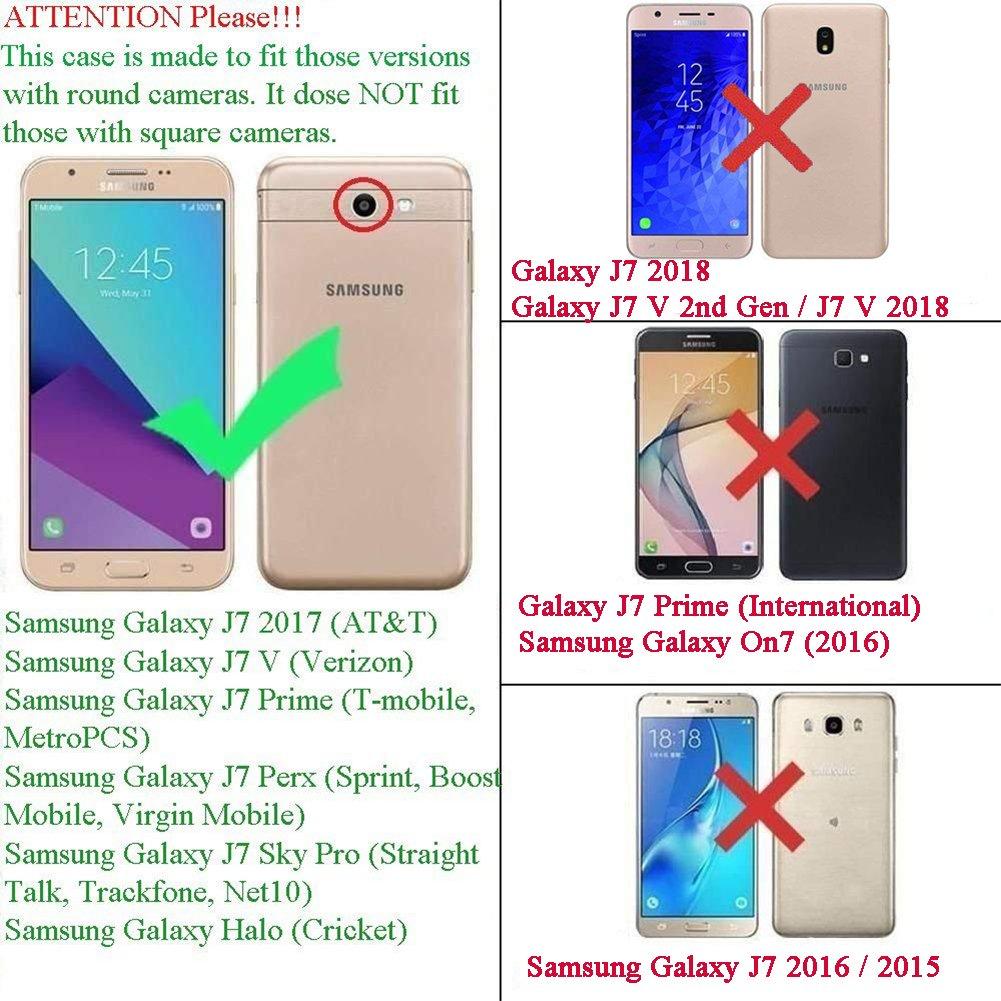 Galaxy J7 V Case,Galaxy J7 Prime Case,J7 Perx Case,J7V Case,J7 Sky Pro Case,Galaxy Halo Case,Auxon All Around Protection Hybrid Dual Layer Armor Phone Case Cover for Samsung Galaxy J7 2017 (Black)