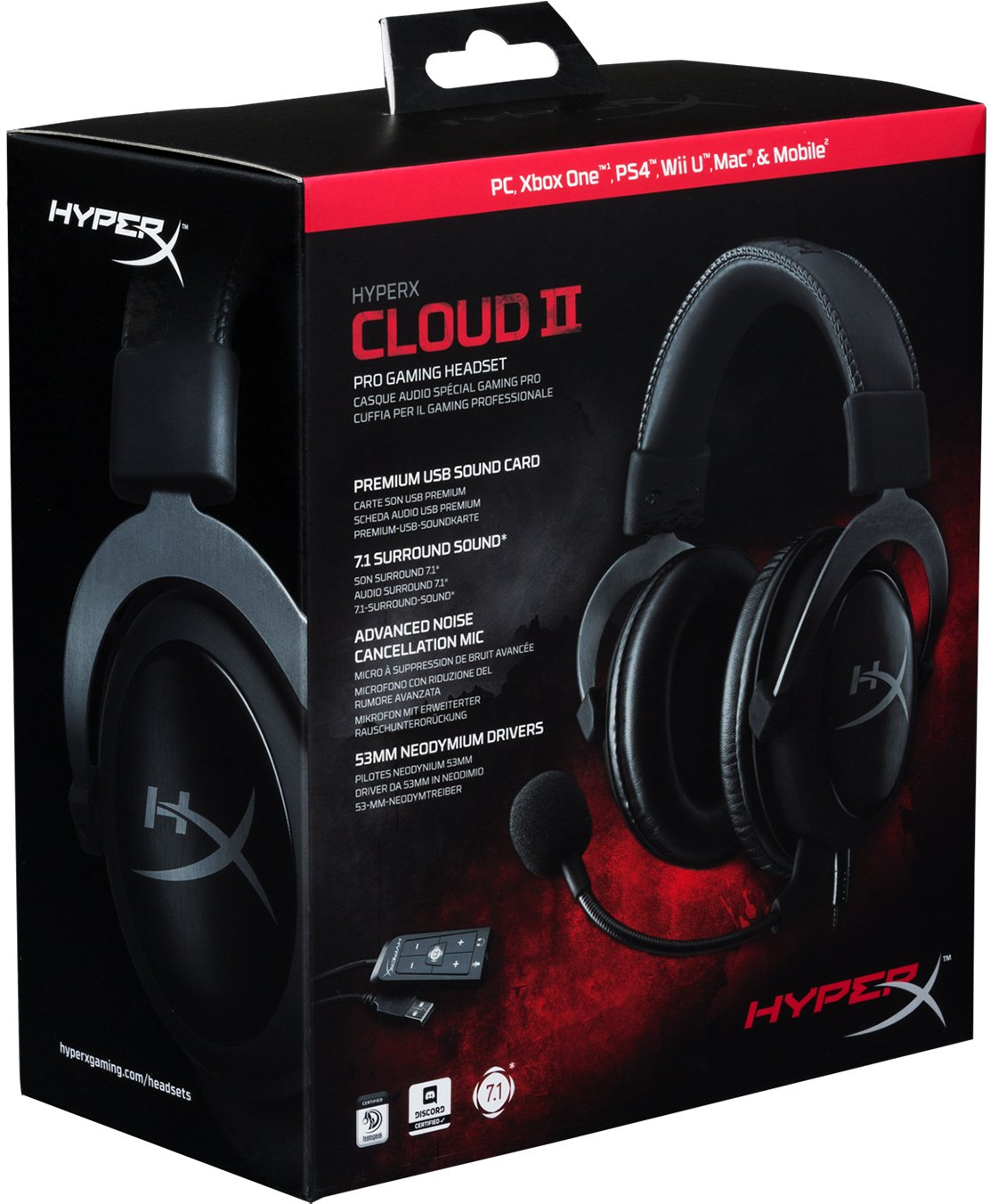 947b48ed7b6 Amazon.com: HyperX Cloud II Gaming Headset - 7.1 Surround Sound - Memory  Foam Ear Pads - Durable Aluminum Frame - Works with PC, PS4, PS4 PRO, Xbox  One, ...