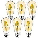 LED Bulbs 6 Packs 60 Watt Equivalent, Dimmable Edison Bulb 6W E26 Vintage Led Light Bulb, 2700K Amber Bulbs Warm White Light