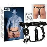 Zado String Cuir Noir pour Homme L/Xl