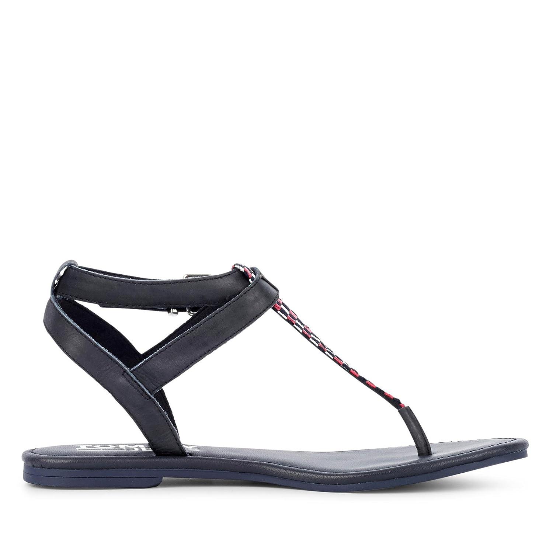 Tommy Sandale Jeans EN0EN00213403 Flat Gingham Damen Sandale Tommy Glattleder mit Schnalle Schwarz eb7de0