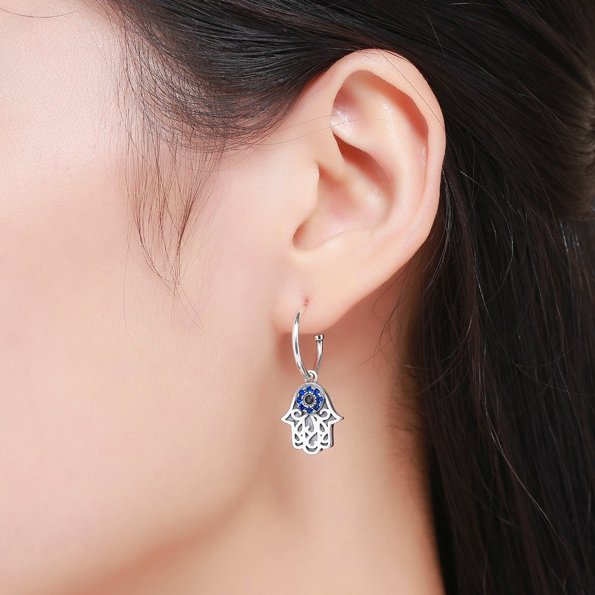 The Kiss Lucky Hamsa Hand Round 925 Sterling Silver Stud Earrings