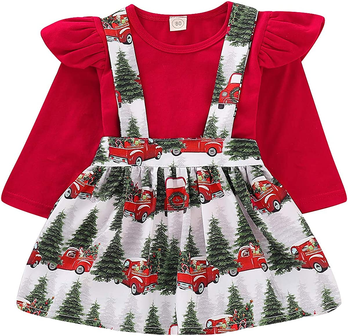 GObabyGO Toddler Baby Girl Infant Plain T Shirts Plaid Overall Skirt Set Cotton Outfits