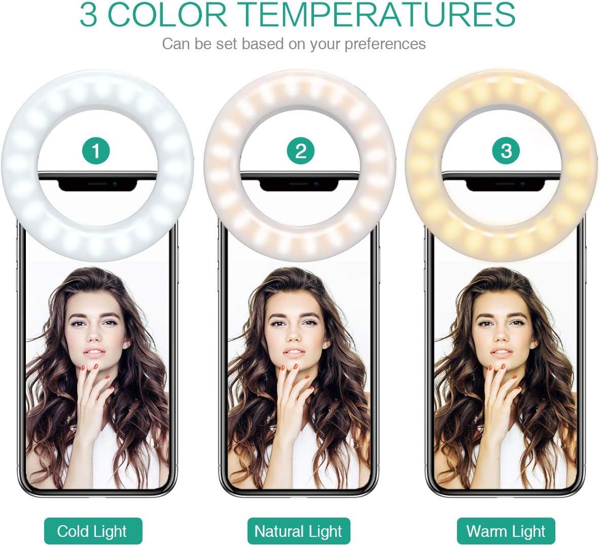40 LED USB Rechargeable Selfie Fill-Llight 3-Level Adjustable Brightnes LED Circle Light 2 Pack Selfie Ring Light for Smartphone iPad Tablet Supplementary Lighting Night Selfie Enhancing