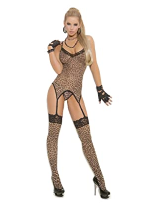 85ec852ac21 Hot Spot Sexy Leopard Print Camisette, G-String & Stockings Lingerie Set,  One