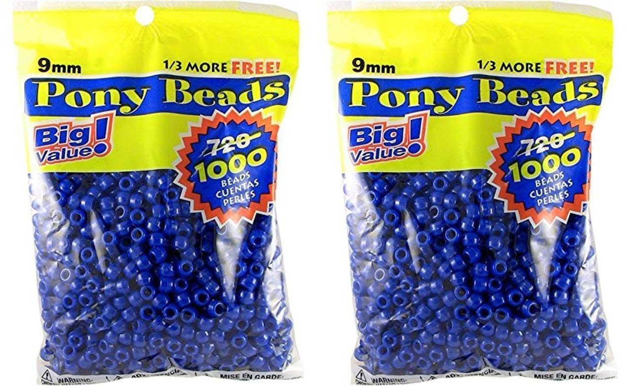 9mm Opaque Blue Natural 2 Pack DARICE 06121-2-03-2PK 06121-2-03 1000 Count Pony Beads