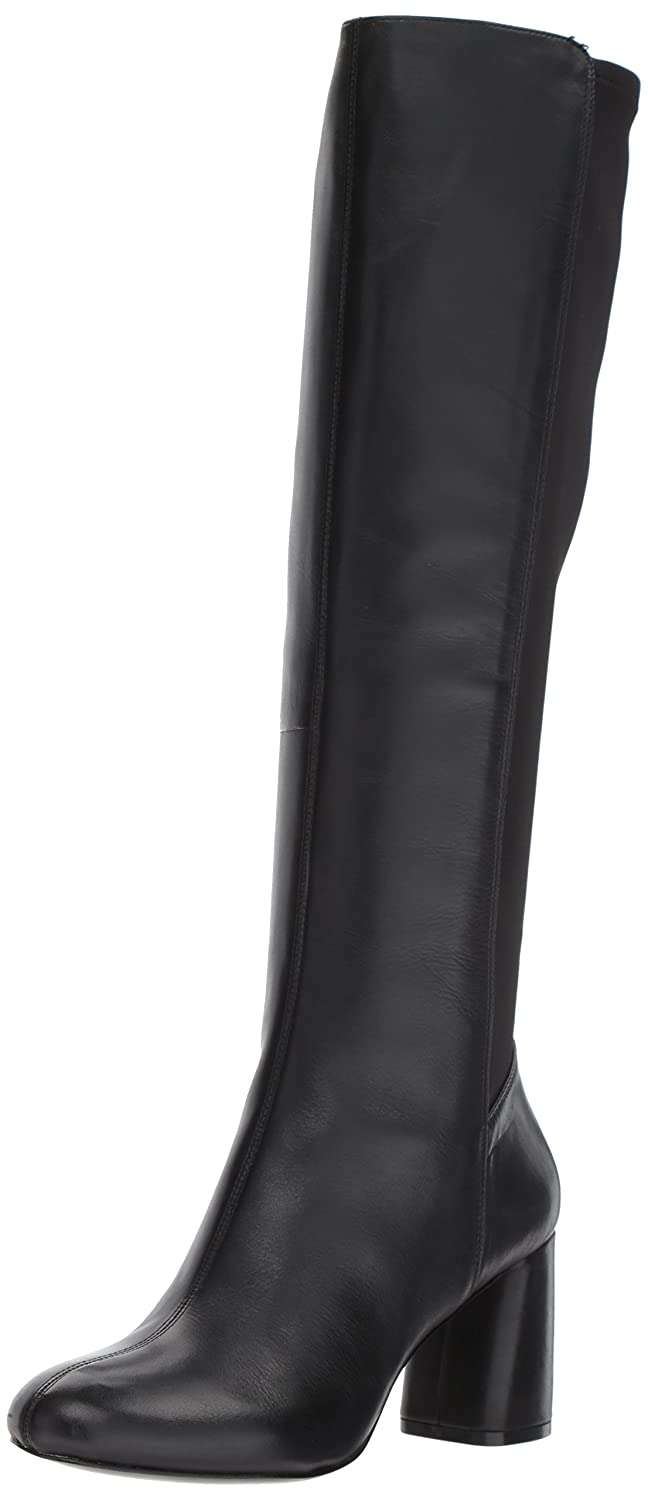 Nine West Women's Knowone Leather Knee High Boot B0719DLB4G 6 B(M) US|Black/Black Leather