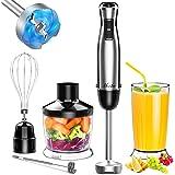 MOOKA Immersion Blender, 1100W 5-in-1 Multi-Purpose Hand Blender, 12-Speed Handheld Stick Blender, 600ml Beaker, 500ml Choppe