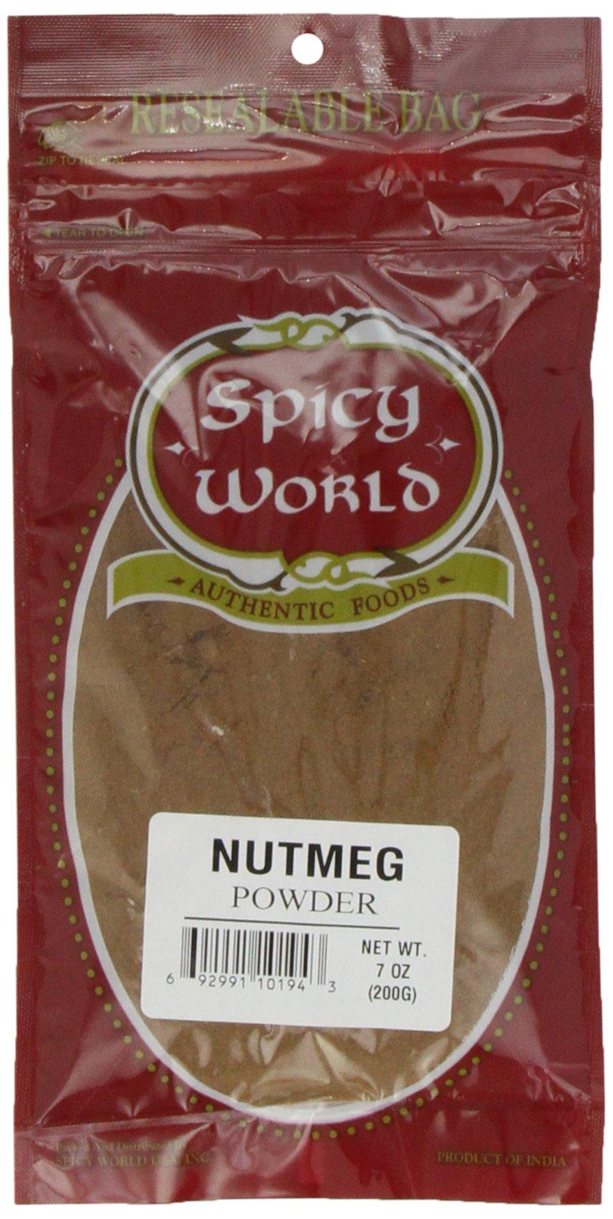 Spicy World Nutmeg Ground (Powder), 7 Ounce Pouch