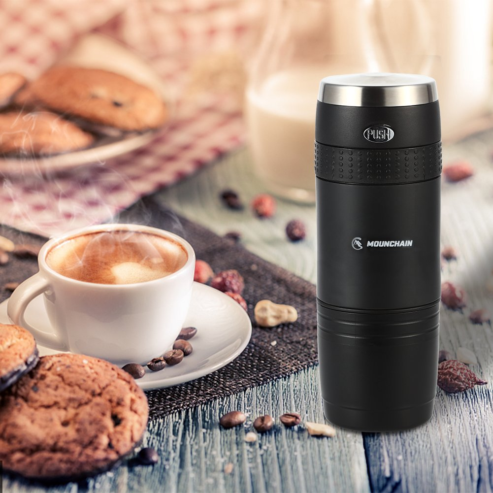 Mini Travel Coffee Maker, Portable Coffee Maker Compatible K-Cup Capsule and Ground Coffee for Outdoor, Camping or Office, Upgrade Version- Black by Mounchain (Image #6)