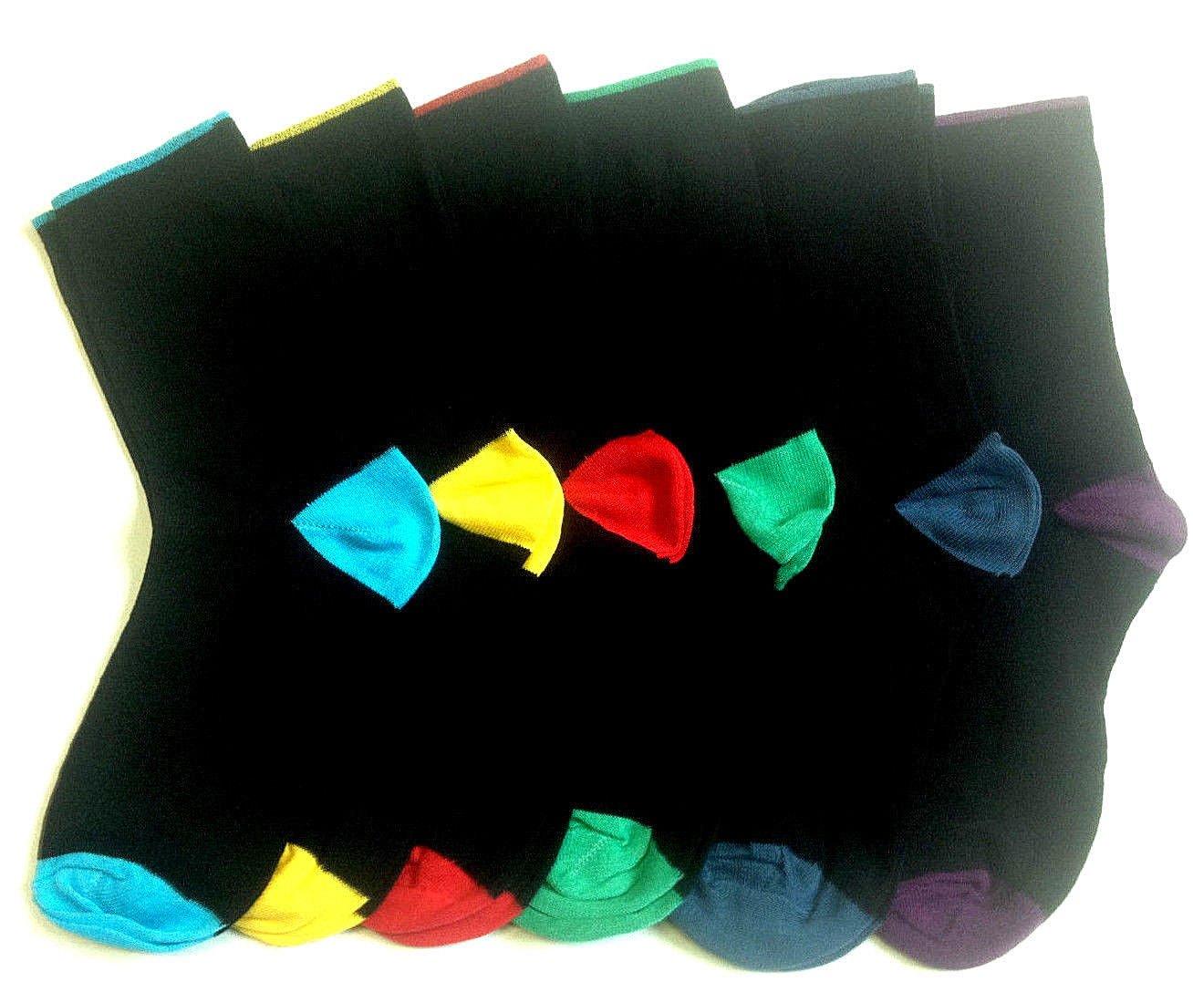 5pairs Boys Black School Socks Designer Heel Toe Foot Multi Colour Design Cotton Blend Socks
