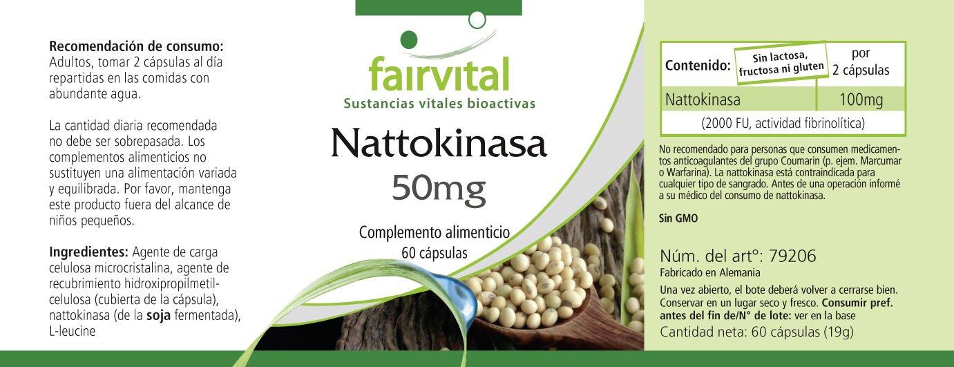 Nattokinase 50 mg - 1 mes - VEGANO - ALTA DOSIS - 60 cápsulas - 2 cápsulas dosis diaria - 2000 FU: Amazon.es: Salud y cuidado personal
