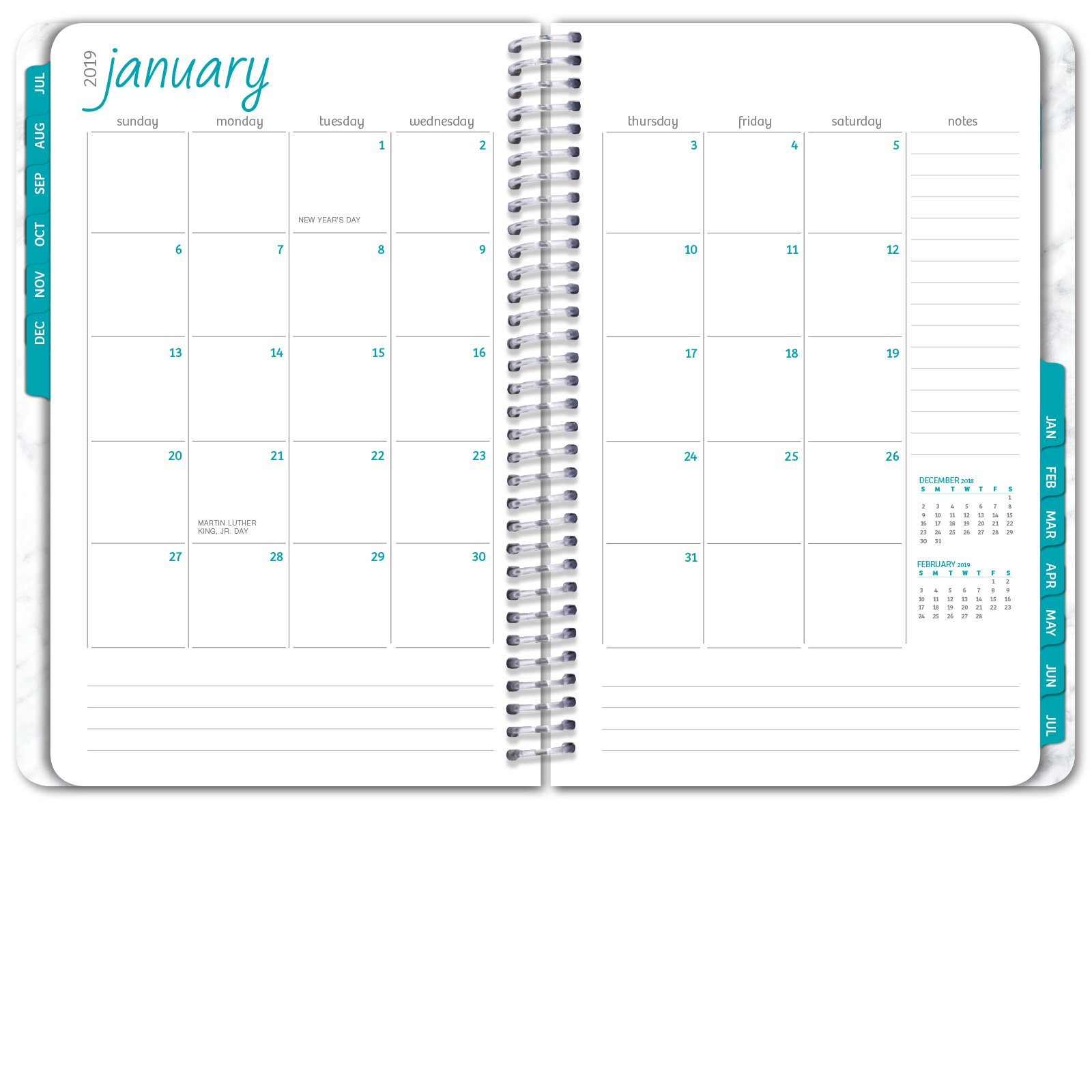 HARDCOVER Academic Year Planner 2018-2019 - 5.5''x8'' Daily Planner/Weekly Planner/Monthly Planner/Yearly Agenda. Bonus Bookmark (Grey Marble) by Global Printed Products (Image #4)