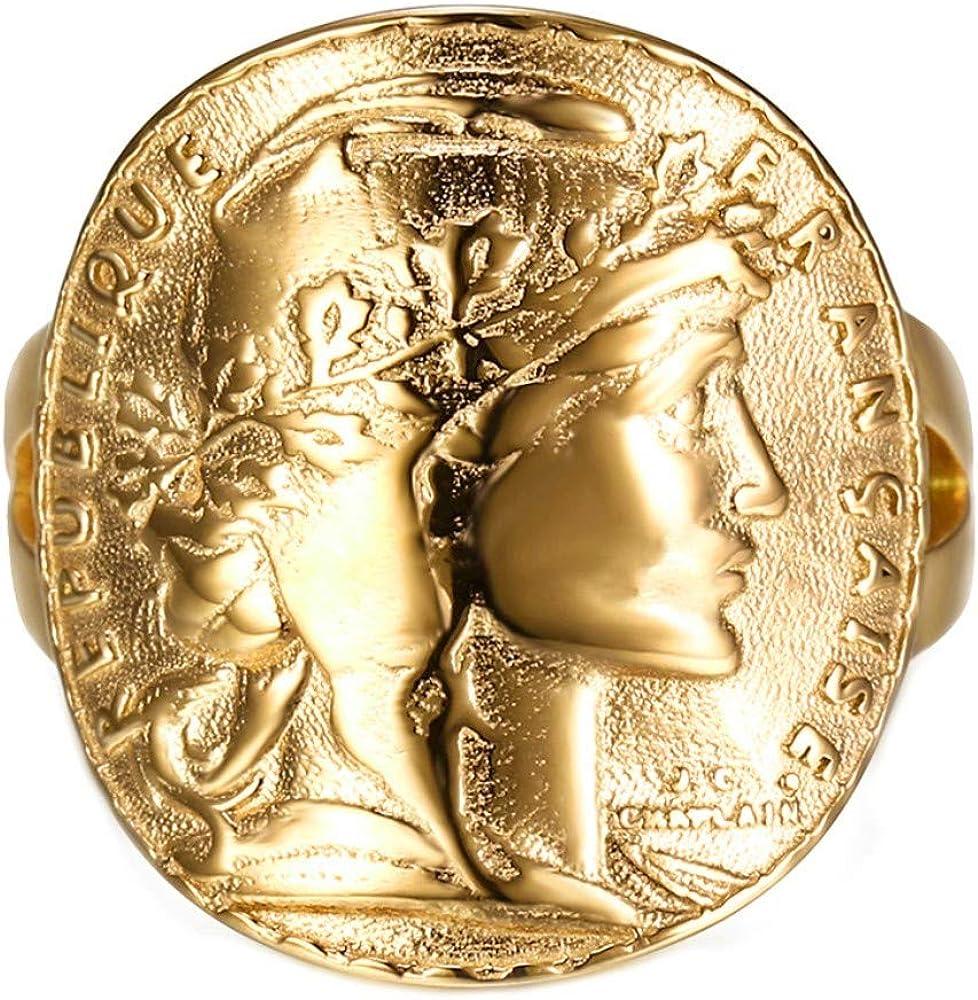BOBIJOO JEWELRY - Anillo Equipado con Monedas de 20 francos Marianne Rooster Oro Dorado: Amazon.es: Joyería