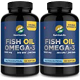 NutrineLife Omega 3 Fish Oil Double Strength with High EPA and DHA - 100 Softgels, 1000 mg (Pack of 2)