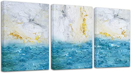 Abstract Painting Art Print Blue /& White Ocean Contemporary Wall Poster Decor