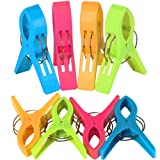 TRIXES Pack of 8 Large Bright Colour Plastic Beach Towel Pegs Clips for Sunbed