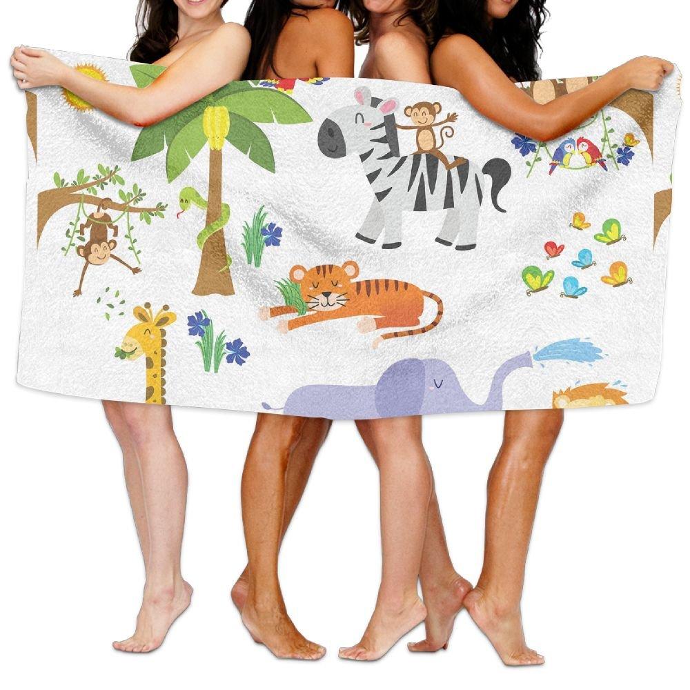 PengMin Cartoon Monkey Owl Tree Jungle Animal Premium 100% Polyester Large Bath Towel, Pool And Bath Towel (80'' X 130'') Natural, Soft, Quick Drying