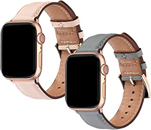 OMIU Square Bands Compatible for Apple Watch 38mm 40mm, Genuine Leather Replacement Band Compatible with Apple Watch Series 5/4/3/2/1 Edition