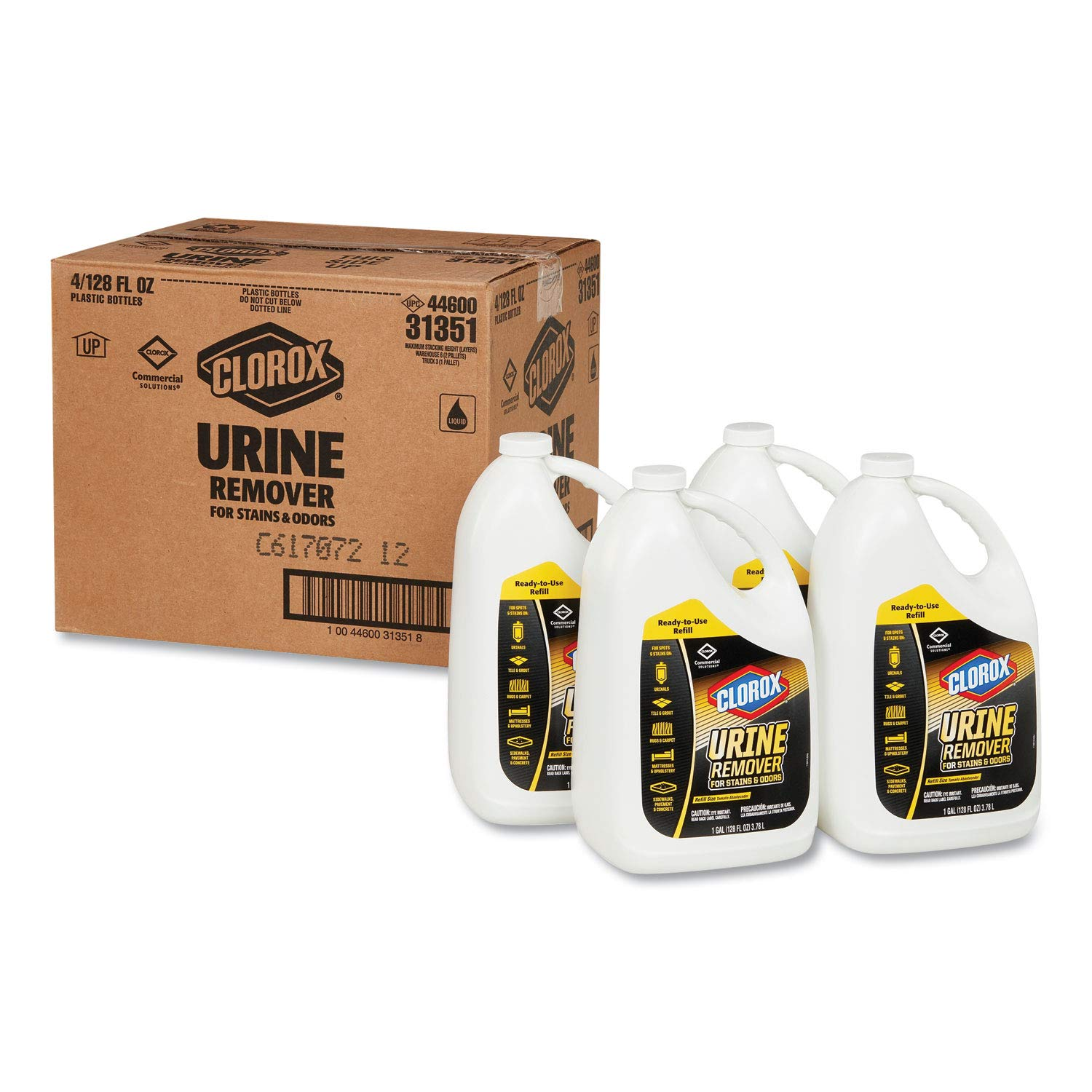 Clorox 31351CT Urine Remover, 1 Gal Bottle, Clean Floral Scent, 4/carton