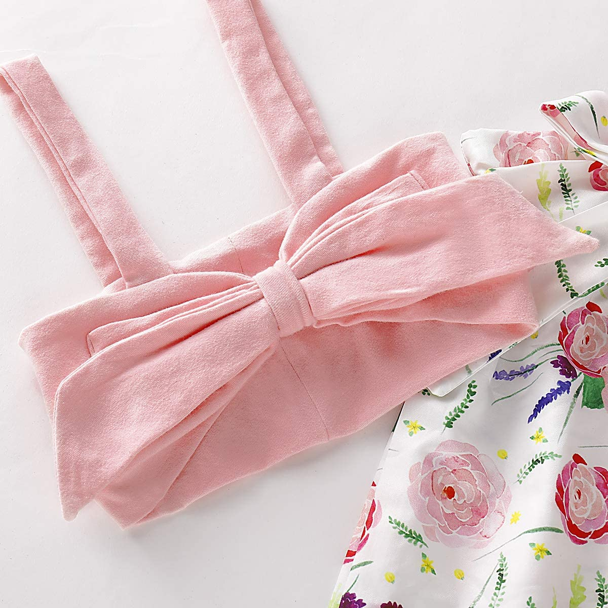 Kaipiclos Toddler Baby Girls Clothes Set Kids One Bowknot Vest Crop Tops Floral Palazzo Pants Outfits