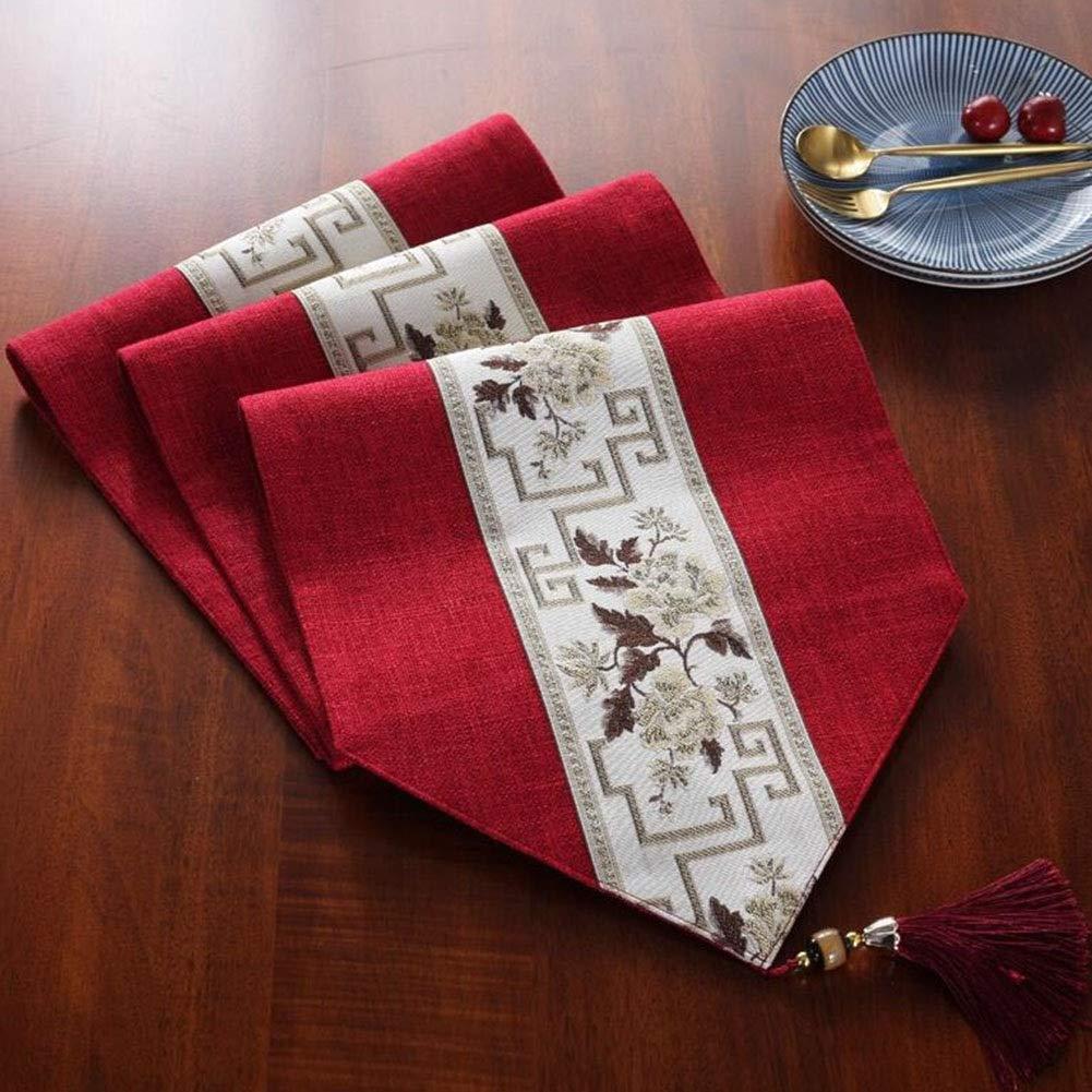 QY テーブルフラグ ファッション アクセサリーの花 布 結婚式 キッチン 電化製品 クリスマス テーブルランナー ホーム デコレーション パーティー 用品 (Color : Red, Size : 32*200cm) 32*200cm Red B07SMTGFP2