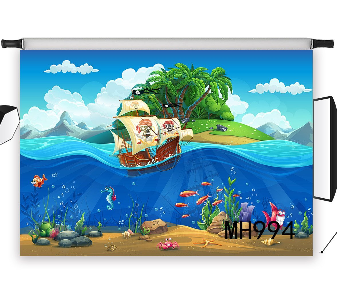 LB 9x6ft Pirate Ship Photography Backdrop Vinyl Customized Photo Background Studio Prop MH994