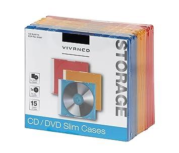 Vivanco - Carcasa para CD/DVD (25 unidades) 3farbig 15er Pack