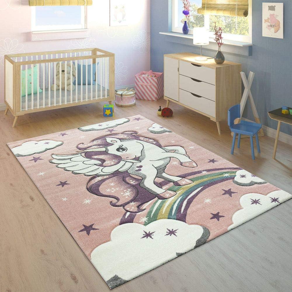 Niedliche 3D Tiermotive Moderner Kinderzimmer Pastell Teppich Farbe:Pink Paco Home Kinderteppich Gr/össe:80x150 cm