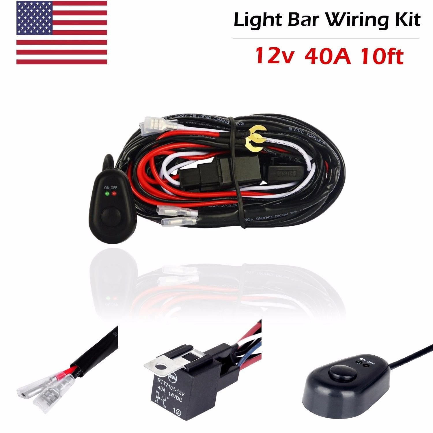 Led Work Light Bar Wiring Harness Kit 12v 40a Fuse Relay Diagram In Addition 7 Wire Trailer On Off Switch Cable Automotive