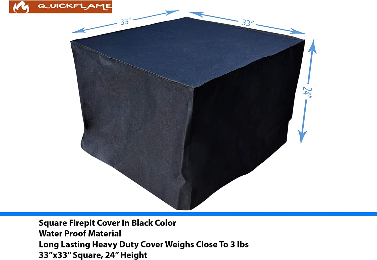 Amazon Com Quickflame Gas Firepit Cover 32 Inches By 32 Inches Black Garden Outdoor