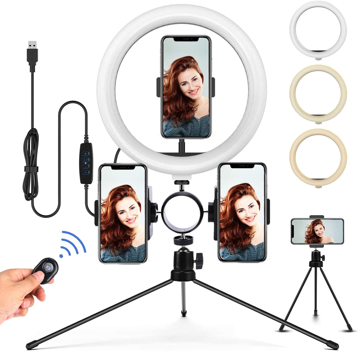 Phone LED Ring Light with Stand: Desk Selfie Lights with 3 Cell Phone Holder & Tripod for Youtube Video Recording, Makeup and Photography | 3 Modes & 14 Level Camera Lighting | 10 Inch, iPhone/Android