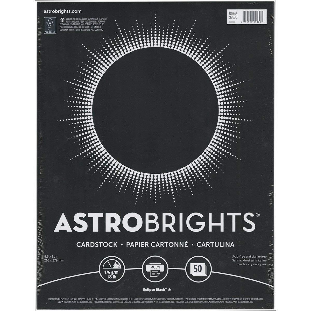 NEW! Neenah Astrobrights Cardstock 8.5''''X11'''' 50/Pkg-Black, 65lb