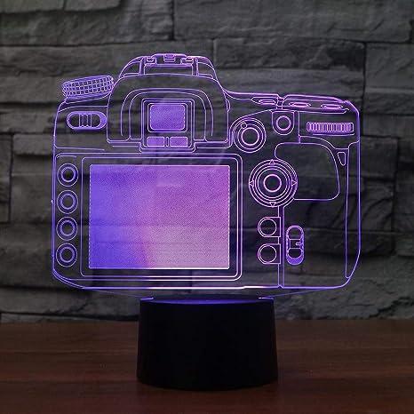 3D Luz Nocturna Creativo 7 Cambio de Color Led Botón Táctil ...