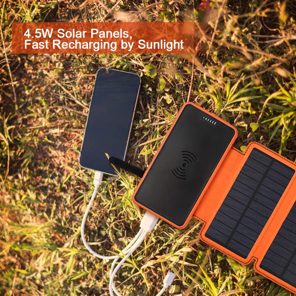 soyond Solar Qi Power Bank Solar Wireless Phone Charger Protable Qi Battery Pack 20000mAh Waterproof with Dual Ports for iPhone, Andriod Phone, iPad(Orange Wireless Charger) by soyond (Image #5)